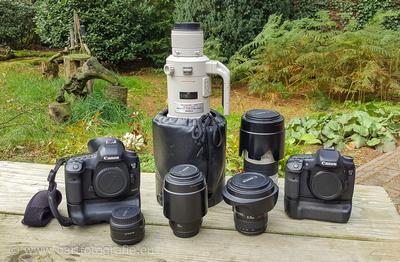 Canon uitzet; EOS 5D Mark III, 500 mm f 4.0, 70 - 200 mm f 2.8, 16 - 35 mm f 4.0, 100 mm f 2.8, 50 mm f 1.8, EOS 7D.